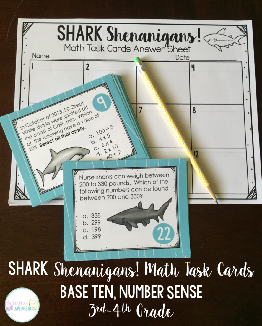 Shark Shenanigans Math Task Cards